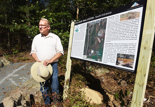 BRYAN EATON/Staff photo. Jerry Mullins at the Little River Trail's new south entrance on Hale Street.