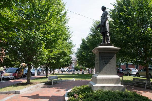 JIM VAIKNORAS/Staff photo The statue of William Garrison in Brown Square in Newburyport.