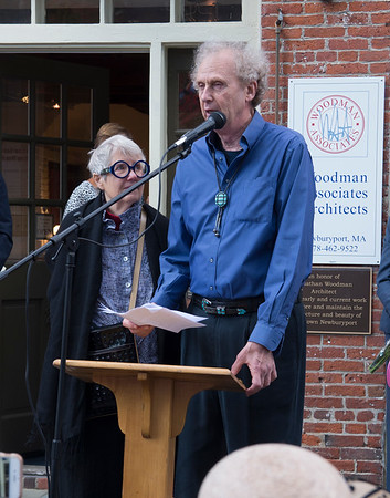 JIM VAIKNORAS/Staff photo 	Jonathan Woodman, with his wife Betsy, speaks at a ceremony honoring him on Inn Street Saturday. Woodman along with Jack Bradshaw were honored for their work in helping restore the Newburyport  in the '70s and '80s.