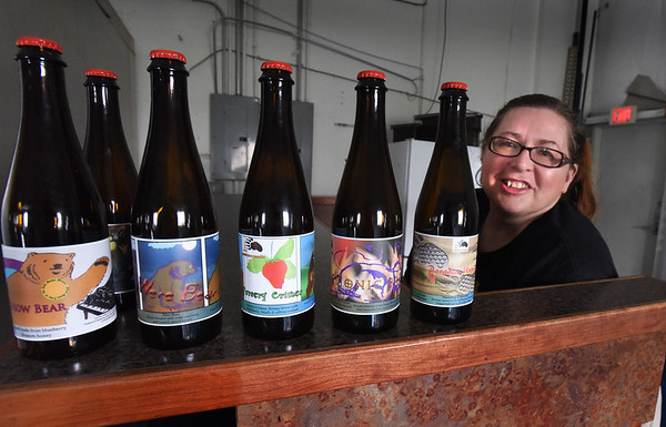 BRYAN EATON/Staff photo. Elizabeth Borges, pictured, and Carl Hirschfield are opening House Bear Brewing, which makes mead, into space previously filled by Riverwalk Brewing on Graf Road in Newburyport.