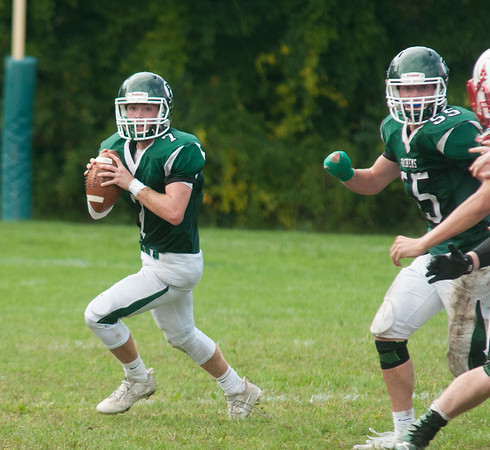 JIM VAIKNORAS/Staff photo Pentucket's Gus Flaherty looks for a receiver against Amesbury at Pentucket high Saturday.