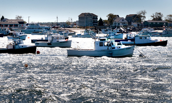 BRYAN EATON/Staff photo. Fishing boats in Seabrook Harbor face into the strong northeast wind yesterday which also whipped up the waves.