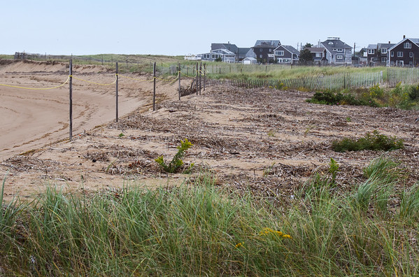 BRYAN EATON/Staff photo. Waves have splashed over sand dunes on Plum Island near 75th Street as evidenced by the debris left behind.