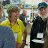 JIM VAIKNORAS/Staff photo Senior scientist Anne Giblin and John Terry of the Gulf of Maine Institute talk with students from Triton at an Open House at the Marshview Field Station on the Newburyport Turnpike in Newbury Tuesday night.