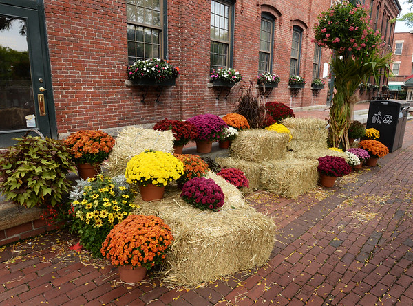 BRYAN EATON/Staff photo. Market Square in downtown Amesbury is getting decorated for the fall with hay bales and chrysanthemums and corn stalks attached to the lightpoles.