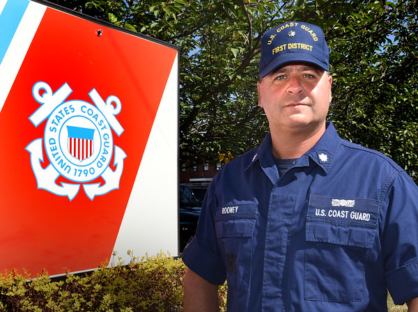 BRYAN EATON/Staff photo. U.S. Coast Guard commander Paul Rooney of Newburyport is being deployed to Texas to assist with the efforts in the aftermath of Tropical Storm Harvey.