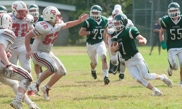 JIM VAIKNORAS/Staff photo Pentucket's Gus Flaherty makes a downfield move against Amesbury at Pentucket high Saturday.