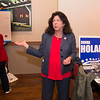 JIM VAIKNORAS/Staff photo Mayor Donna Holaday speaks to supporters at Loretta in Newburyport Tuesday night after getting the primary election results.