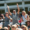 JIM VAIKNORAS/Staff photo Fans dance at the 16th Annual Newburyport Riverfront Music Festival at Market Landing Park in Newburyport Saturday. Music lovers packed the park to enjoy 5 bands that played through out the day.