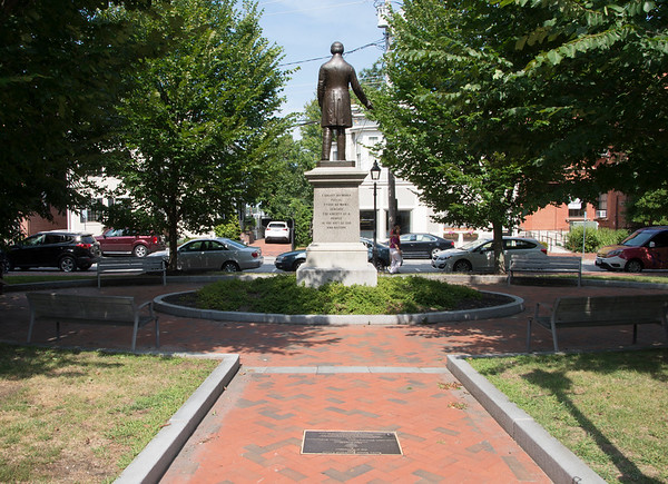 JIM VAIKNORAS/Staff photo The statue of William Garrison in Brown Square in Newburyport.