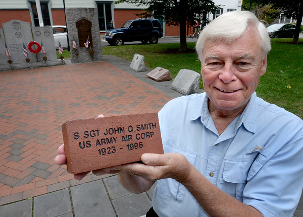 BRYAN EATON/Staff photo. Newburyport veteran's agent Kevin Hunt are selling bricks to family's of veterans to place in the memorial in Brown Square.