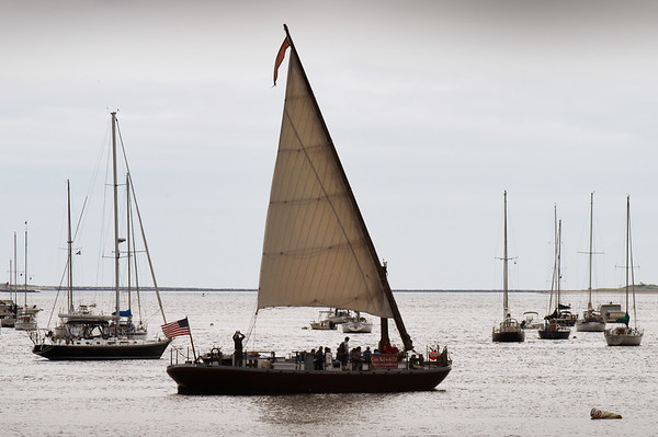BRYAN EATON/Staff photo. The gundalow Piscataqua out of Portsmouth, N.H. sets sail with students from the River Valley Charter School from the Newburyport waterfront out to the mouth of the Merrimack River.