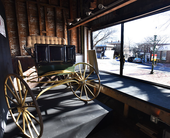 BRYAN EATON/Staff photo. Amesbury Carriage Museum has new display space in Market Square in the old Counting House next to the archway of the Hamilton-Gateway Building.