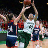 CARL RUSSO/staff photo. Pentucket's Arielle Cleveland drives to the hoop. The Pentucket Sachems defeated Pembroke 53-38 in D2 girls basketball state semifinals at the Boston Garden. 3/13/2019