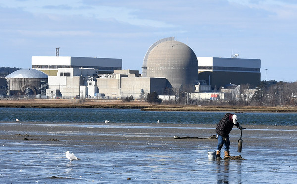 JIM VAIKNORAS/Staff photo With the Seabrook Nuclear Power Plant in the back ground a clammer digs in Hamton Harbor in Seabrook Saturday morning.