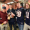 BRYAN EATON/Staff photo. Amesbury buddies exude excitement going to the Patriots' parade, from left, Jay Nicols, Stefano Faso, Jack McCarthy, Jordan LaFrance and Mason Conte.