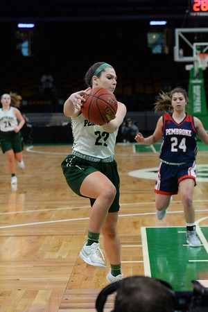 CARL RUSSO/staff photo. The Pentucket Sachems defeated Pembroke 53-38 in D2 girls basketball state semifinals at the Boston Garden.  3/13/2019