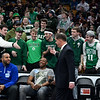 CARL RUSSO/staff photo. Boston Mayor, Marty Walsh is greeted by the Pentucket fans. The Pentucket Sachems defeated Pembroke 53-38 in D2 girls basketball state semifinals at the Boston Garden. 3/13/2019