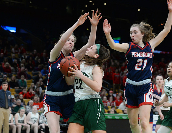 CARL RUSSO/staff photo. Pentucket's Angelina Yacubacci fights to make the lay up. The Pentucket Sachems defeated Pembroke 53-38 in D2 girls basketball state semifinals at the Boston Garden. 3/13/2019