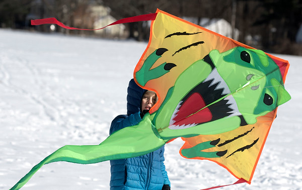 JIM VAIKNORAS/Staff photo Nash Hanson , 8, flies a T-Rex kite at the Winter Kite Festival at Maudslay State Park co sponsored by Newburyport Youth Services and Kites Over New England Saturday.
