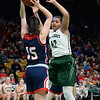 CARL RUSSO/staff photo. Pentucket's Arielle Cleveland plays tight defense. The Pentucket Sachems defeated Pembroke 53-38 in D2 girls basketball state semifinals at the Boston Garden. 3/13/2019