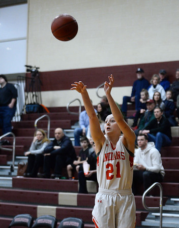 CARL RUSSO/staff photo. Amesbury's Allison Napoli taking the three point jump shot. Amesbury girls basketball vs. Lynnfield in Division 3 North semifinals. 3/6/2019