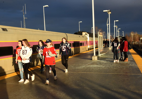 BRYAN EATON/Staff photo. The Newburyport Commuter Rail trains were packed as people went to see the Patriots' parade in Boston.