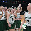 CARL RUSSO/staff photo. Pentucket players celebrate from left, Arielle Cleveland, Madeline Doyle, Jessica Galvin and Anna Wyner, 3. The Pentucket Sachems defeated Pembroke 53-38 in D2 girls basketball state semifinals at the Boston Garden. 3/13/2019