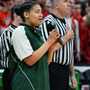 CARL RUSSO/staff photo. Pentucket's Arielle Cleveland sings the National Anthem. The Pentucket Sachems defeated Pembroke 53-38 in D2 girls basketball state semifinals at the Boston Garden. 3/13/2019
