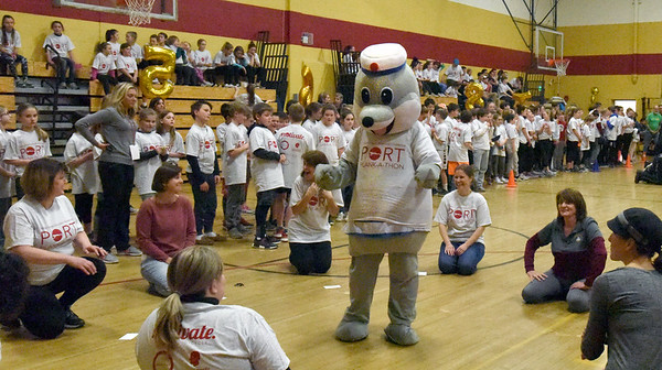 "BRYAN EATON/Staff photo. Mascot ""Clipper the Seadog"" pep up the staff of the Bresnahan School."