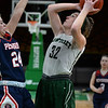 CARL RUSSO/staff photo. Pentucket's Olivia Cross takes the jump shot over Pembroke's Bella Pizzi.The Pentucket Sachems defeated Pembroke 53-38 in D2 girls basketball state semifinals at the Boston Garden. 3/13/2019