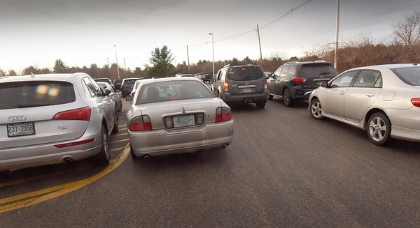 BRYAN EATON/Staff photo. Parking was extremely tight in the Newburyport Commuter Rail parking lot.
