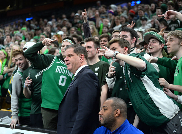 CARL RUSSO/staff photo. Boston Mayor, Marty Walsh is photographed with Pentucket fans. The Pentucket Sachems defeated Pembroke 53-38 in D2 girls basketball state semifinals at the Boston Garden. 3/13/2019