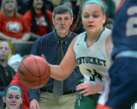 CARL RUSSO/staff photo. Pentucket's head coach, John McNamara watches Mackenzie Currie drive to the hoop. The Pentucket Sachems defeated Pembroke 53-38 in D2 girls basketball state semifinals at the Boston Garden. 3/13/2019