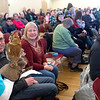 JIM VAIKNORAS/Staff photo Jade, a screech owl meet the crowd at a Eagle Festival event at Newburyport City Hall Saturday. The annual event featured  live bird show, crafts, and guided eagle viewing, at multiple locations.