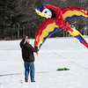 JIM VAIKNORAS/Staff photo Ed Fyfe of Litchfield geta a giant parrot kite up in the air at the Winter Kite Festival at Maudslay State Park co sponsored by Newburyport Youth Services and Kites Over New England Saturday.