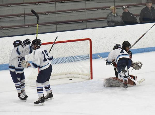 BRYAN EATON/Staff photo. Triton's Brad Killion gets their second goal of the game.