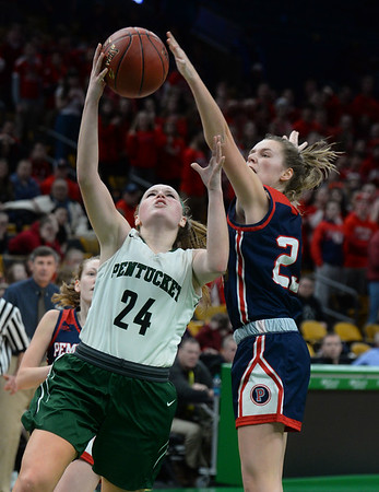 CARL RUSSO/staff photo. Pentucket's Arielle Angelica Hurley drives to the hoop against Pembroke's Jayne Howe. The Pentucket Sachems defeated Pembroke 53-38 in D2 girls basketball state semifinals at the Boston Garden. 3/13/2019