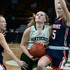 CARL RUSSO/staff photo. Pentucket's Angelica Hurley fights to make the lay up. The Pentucket Sachems defeated Pembroke 53-38 in D2 girls basketball state semifinals at the Boston Garden. 3/13/2019