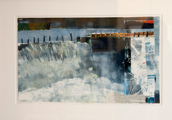 "JIM VAIKNORAS/Staff photo Juried show at the Newburyport Art Association Mixed Media winner ""Water Falling"" by Mary Arthur Pollak."