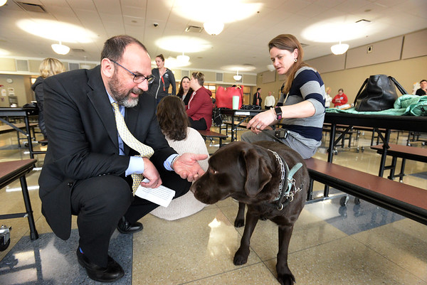 BRYAN EATON/Staff photo. Amesbury Schools' superintendent Jared Fulgoni meets with Courtney Breen of Seacoast Labradors, shown with Cedar, and other counselors and therapy dogs that were on hand at Amesbury High School as they awaited students who may show up for grief counseling.
