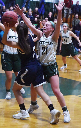 BRYAN EATON/Staff photo. Madeline Doyle puts the pressure on Wilmington's Sara Babcock.