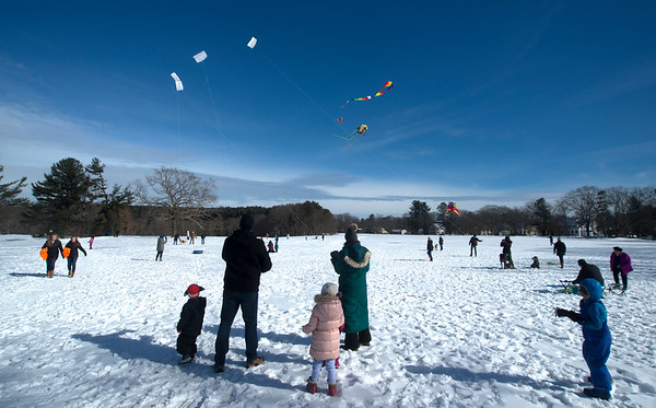 JIM VAIKNORAS/Staff photo Despite the cold, a large group cam out for the Winter Kite Festival at Maudslay State Park co sponsored by Newburyport Youth Services and Kites Over New England Saturday.