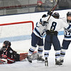 BRYAN EATON/Staff photo. Triton celebrates their third goal of the game with North Andover which came near the end of the first period.
