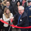 JIM VAIKNORAS/Staff photo Maritime Museum executive director Jessica Pappathan and president Doug Muis at the ribbon cutting celebrating the Newburyport Maritime Society's ownership of the Custom House.