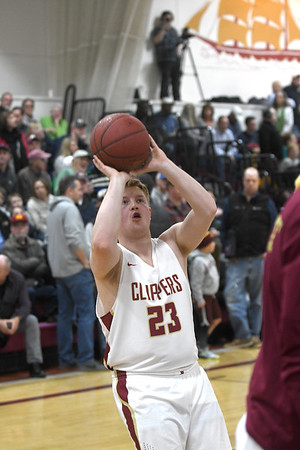JIM VAIKNORAS/Staff photo Newburyport's Nico Levasseur before the Clipper's game against Swampscott at Newburyport High School Monday night.