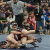 AMANDA SABGA/Staff photo<br /> <br /> Pentucket's Tyler Knox faces Chelmsford's Evan Kinney during the 106 weight class championship at the MIAA all-state wrestling meet at St. John's Prep in Danvers. <br /> <br /> <br /> 2/23/19