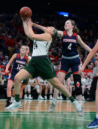 CARL RUSSO/staff photo. Pentucket's Mackenzie Currie drive to the hoop. The Pentucket Sachems defeated Pembroke 53-38 in D2 girls basketball state semifinals at the Boston Garden. 3/13/2019