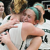 CARL RUSSO/staff photo. Pentucket's Anna Wyner and Jessica Galvin (front) celebrate. The Pentucket Sachems defeated Pembroke 53-38 in D2 girls basketball state semifinals at the Boston Garden. 3/13/2019
