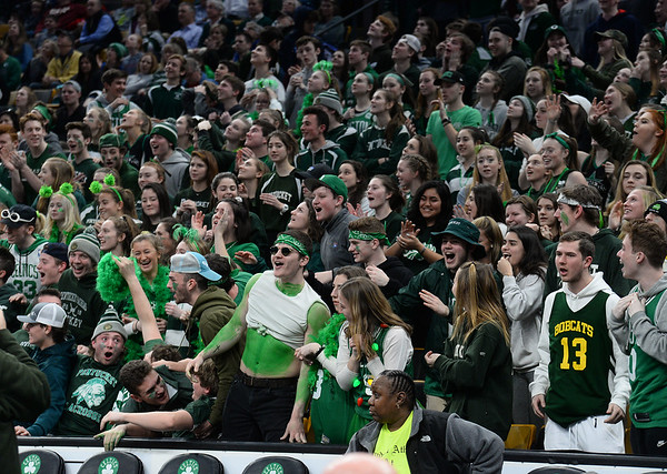 CARL RUSSO/staff photo. Pentucket fans showing their support and pride. The Pentucket Sachems defeated Pembroke 53-38 in D2 girls basketball state semifinals at the Boston Garden.  3/13/2019